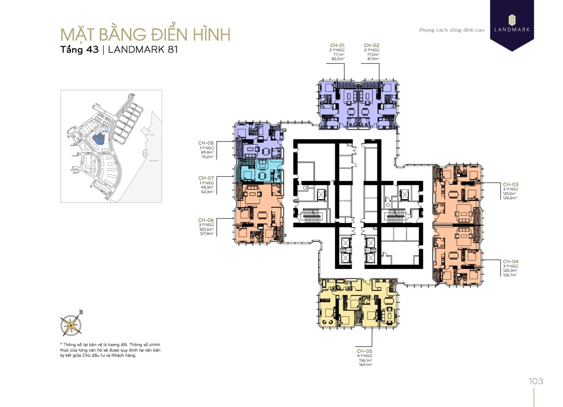 Layout tòa Landmark 81-Mặt bằng tầng điển hình-Tầng 43-Vinhomes Central Park
