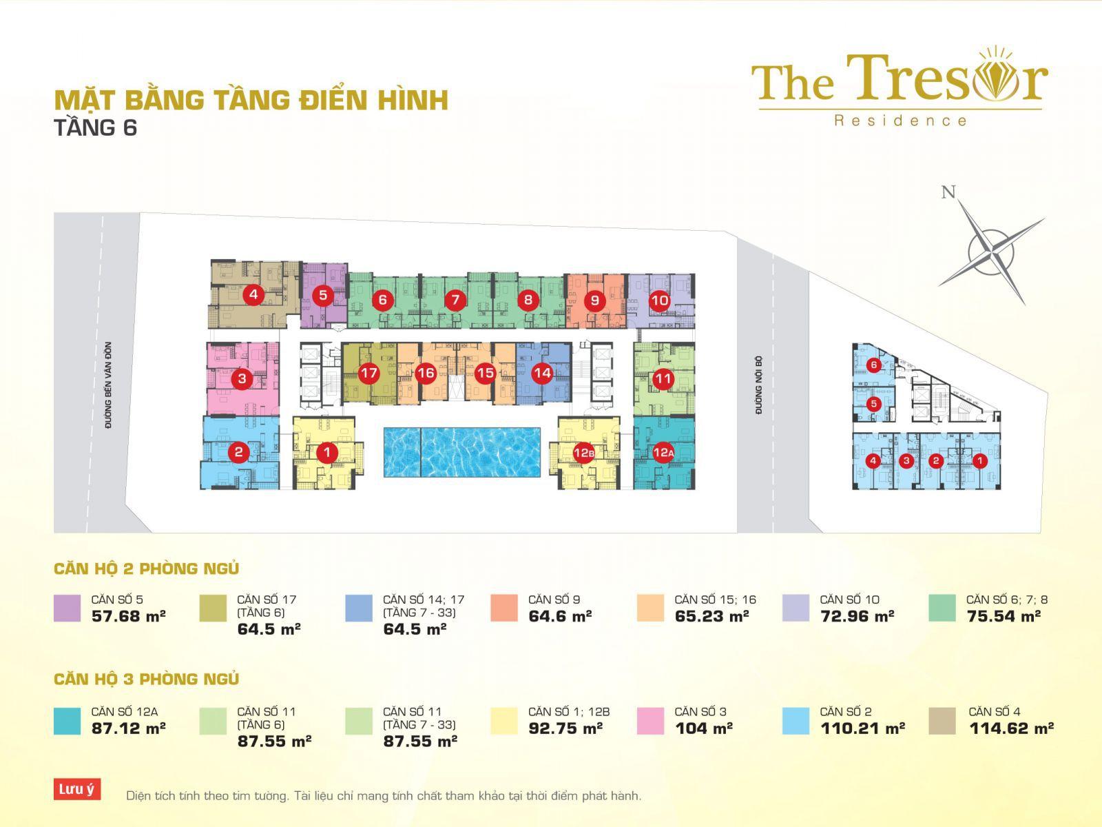 Layout Mặt Bằng Tầng Điển Hình - Tầng 6 - Block A-The Tresor