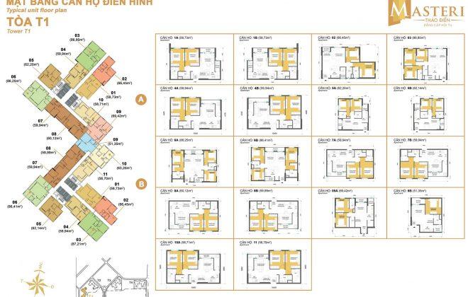 Layout Mặt Bằng Căn Hộ Điển Hình - Tòa T1 - Masteri Thảo Điền