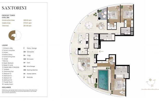Layout Mặt Bằng Tầng Điển Hình- Santorini - Tầng 28A - Tòa Cresent - City Garden