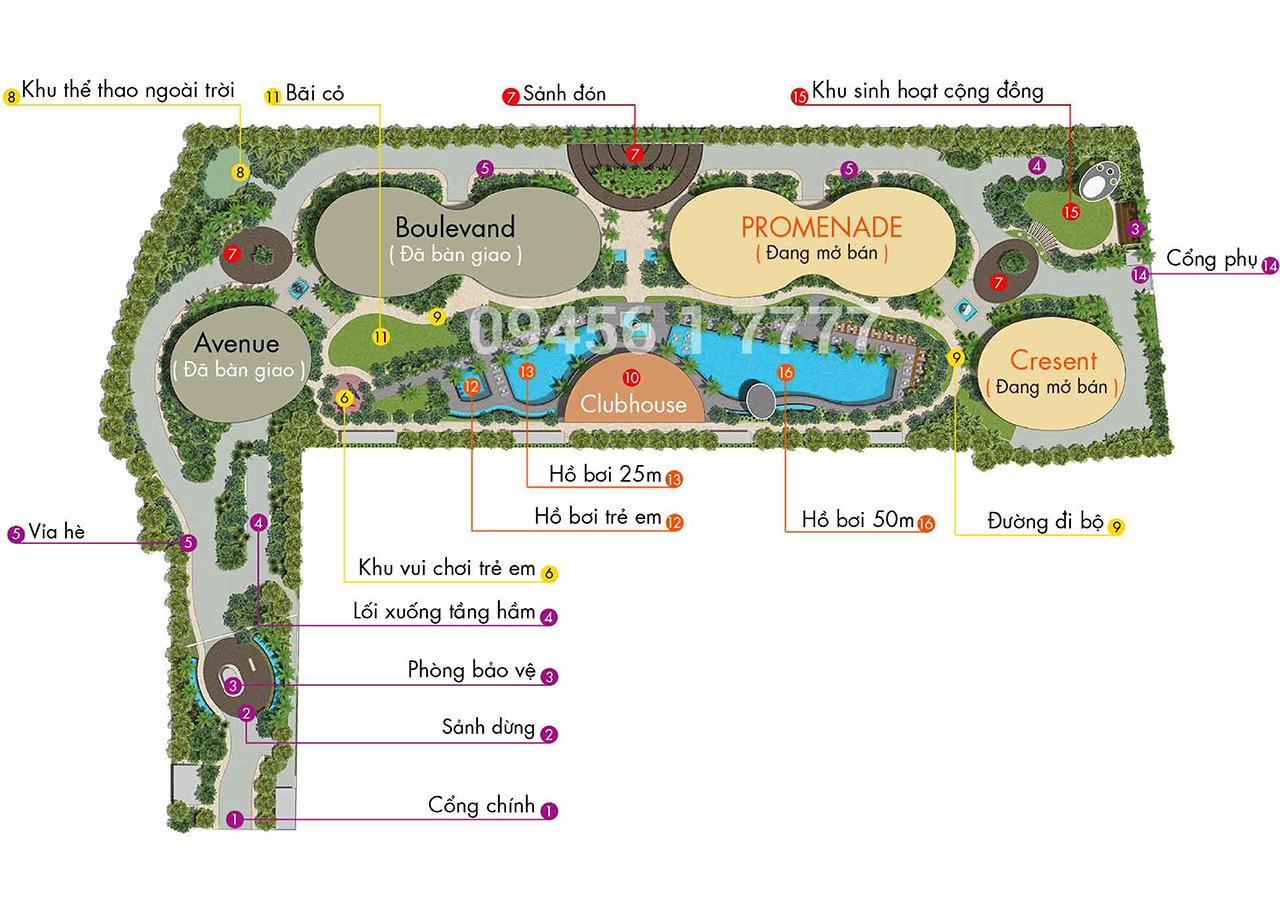 Layout Mặt Bằng Tầng Điển Hình -Tòa Cresent - City Garden