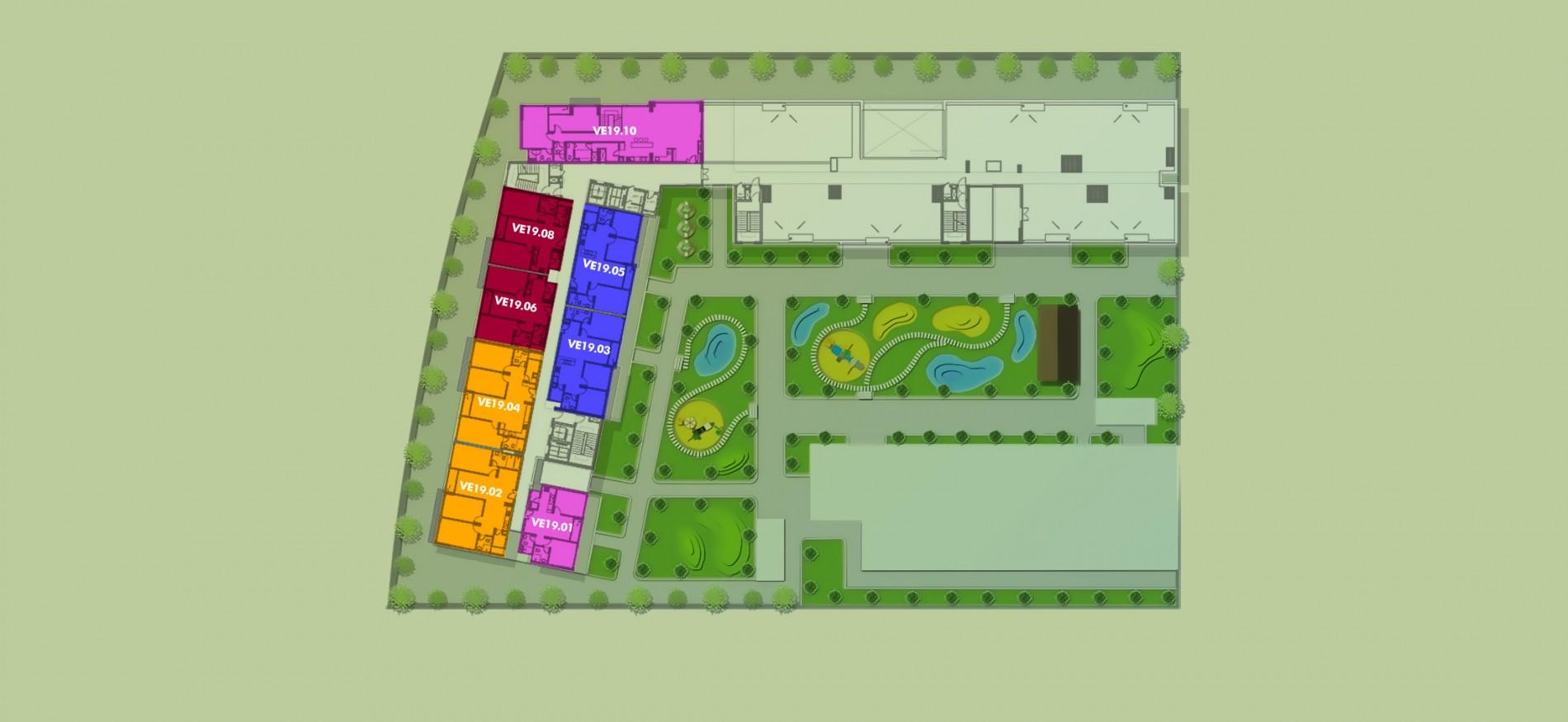 Layout Mặt Bằng Tầng Điển Hình - Tầng 19 - Tòa Venice - New City