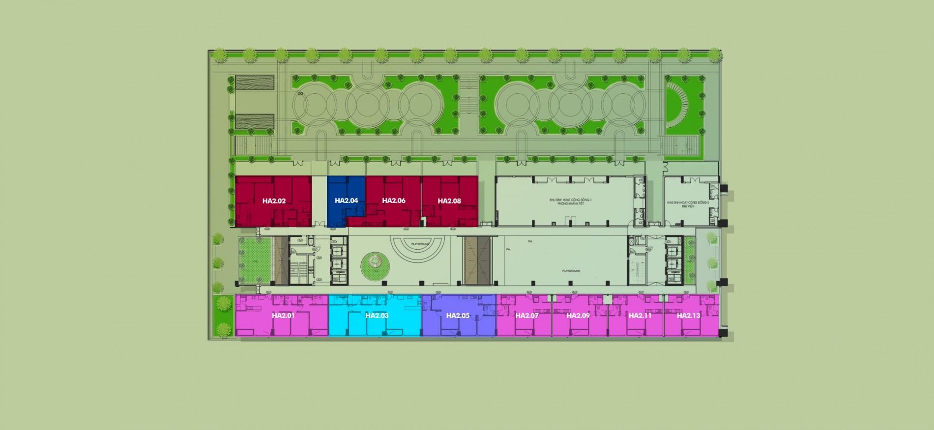 Layout Mặt Bằng Tầng Điển Hình - Tầng 2 - Tòa Hawaii - New City