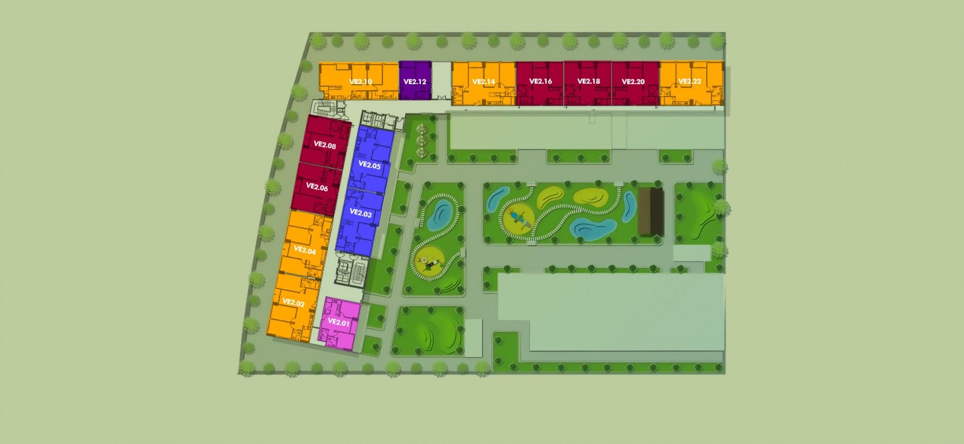 Layout Mặt Bằng Tầng Điển Hình - Tầng 2 - Tòa Venice - New City