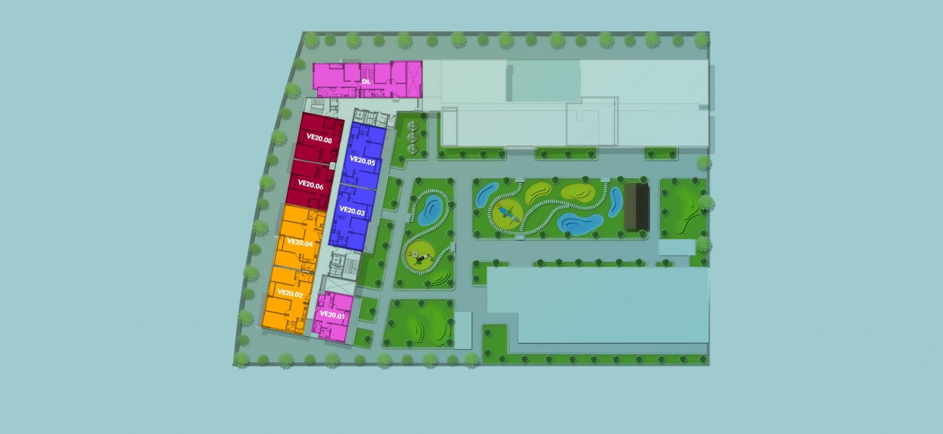 Layout Mặt Bằng Tầng Điển Hình - Tầng 20 - Tòa Venice - New City