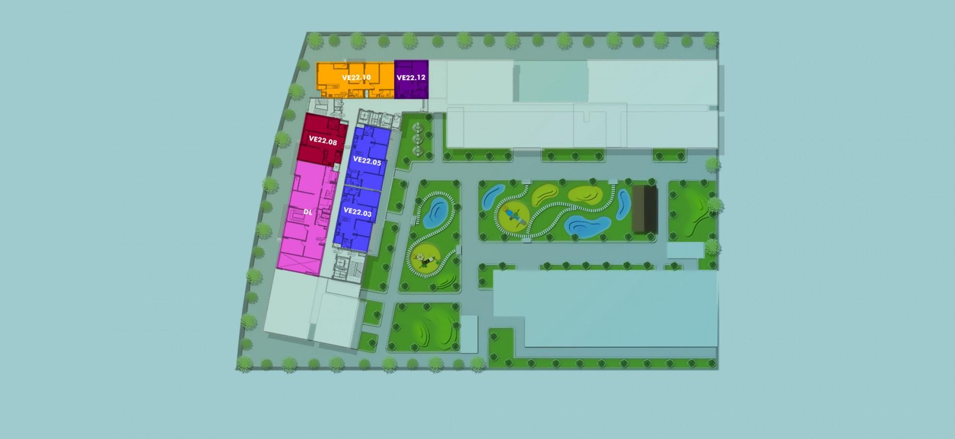 Layout Mặt Bằng Tầng Điển Hình - Tầng 22 - Tòa Venice - New City