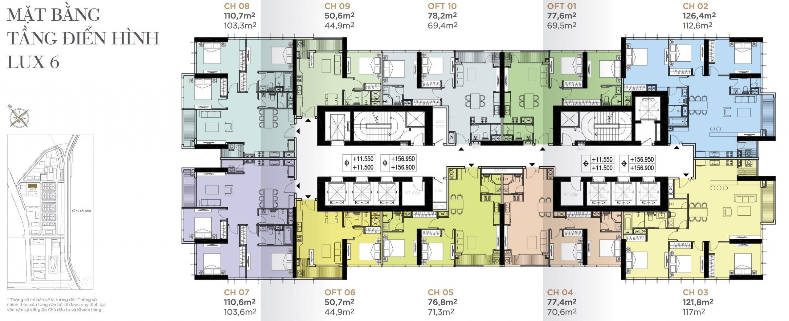 Layout Mặt Bằng Tầng Điển Hình - Tòa Luxury 6 - Vinhomes Golden River