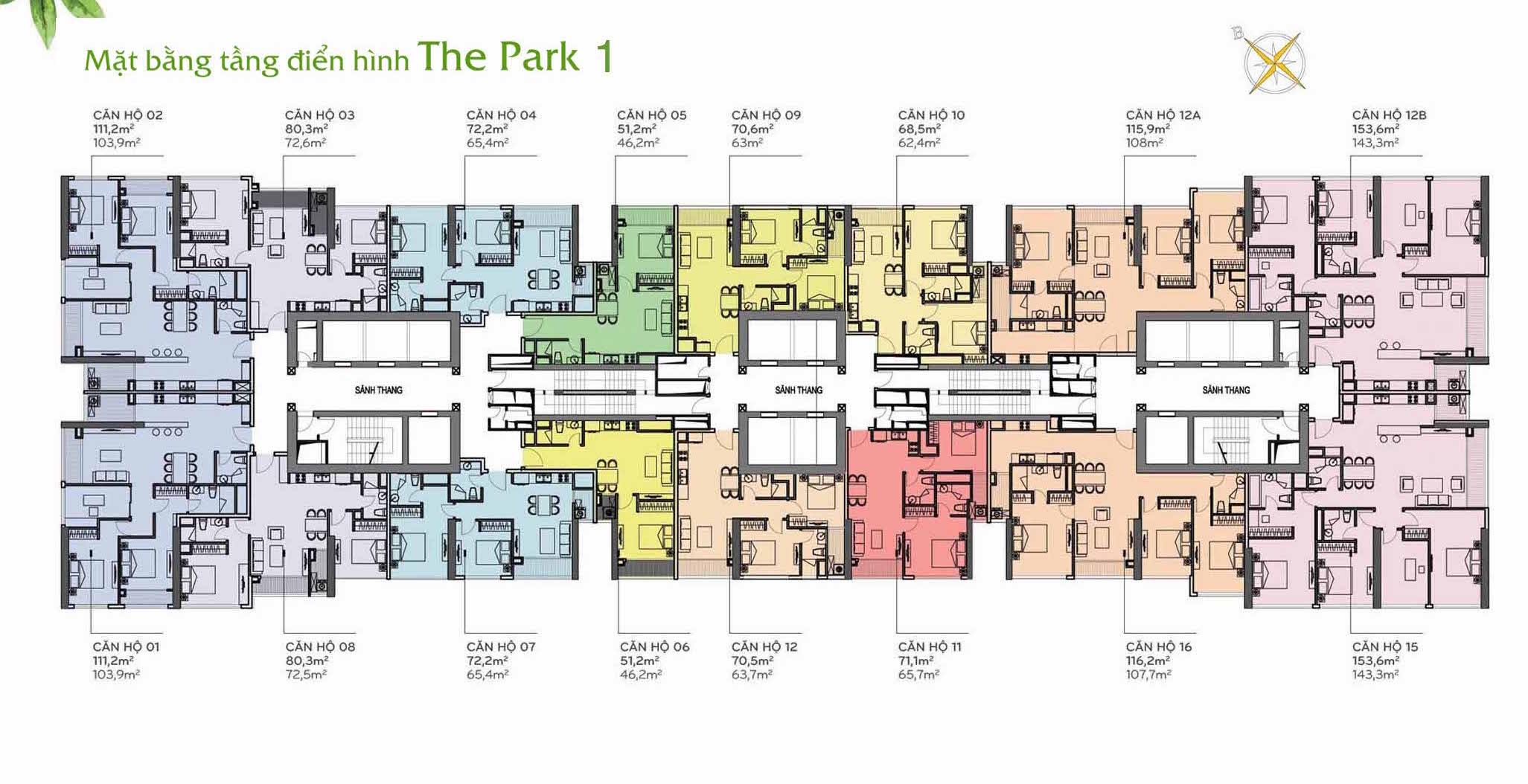 Layout Mặt Bằng Tầng Điển Hình - Tòa The Park 1 - Vinhomes Central Park