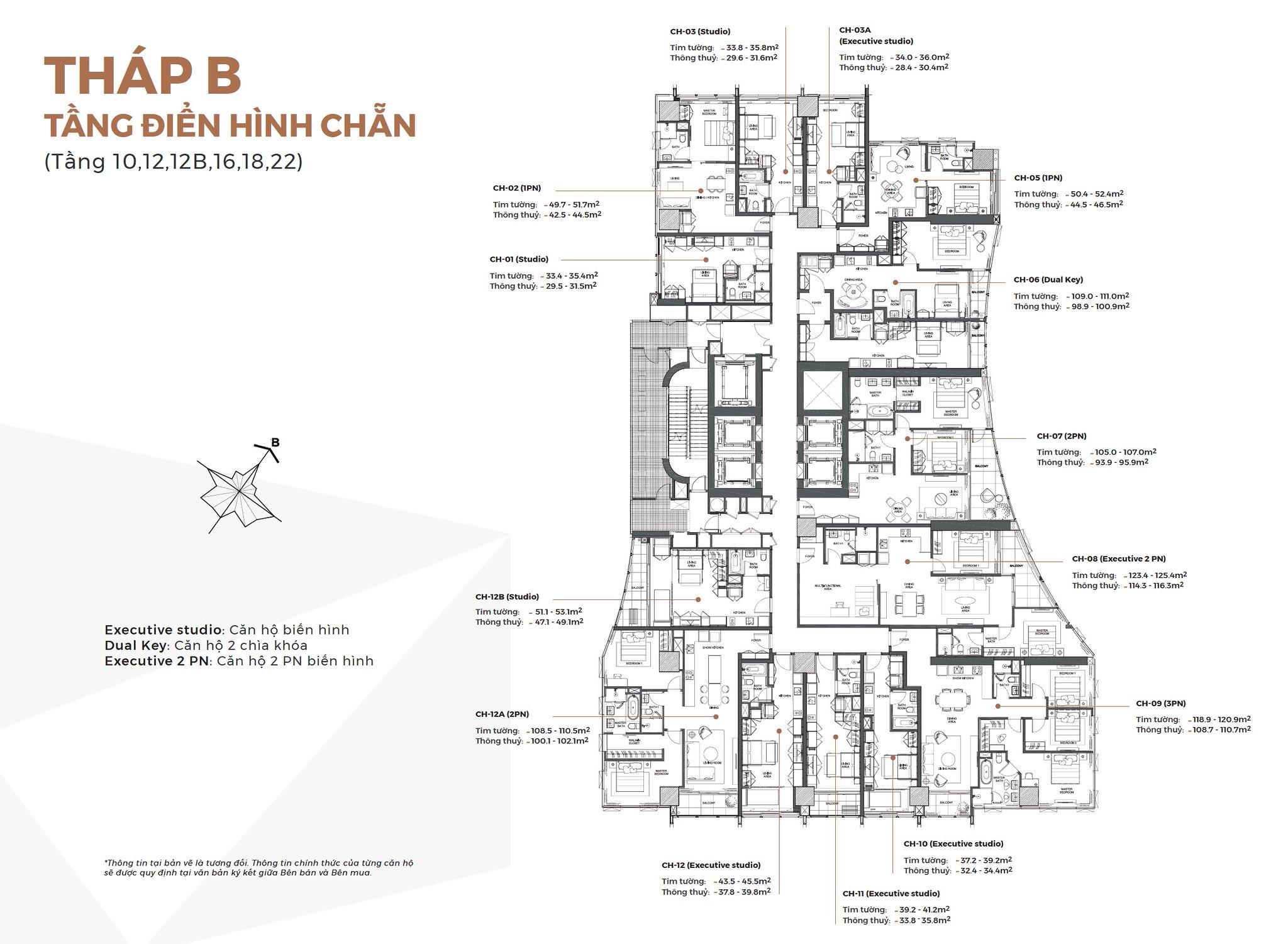 Layout Mặt Bằng Tầng Điển Hình - Tháp B - Tầng chẵn - Alpha City