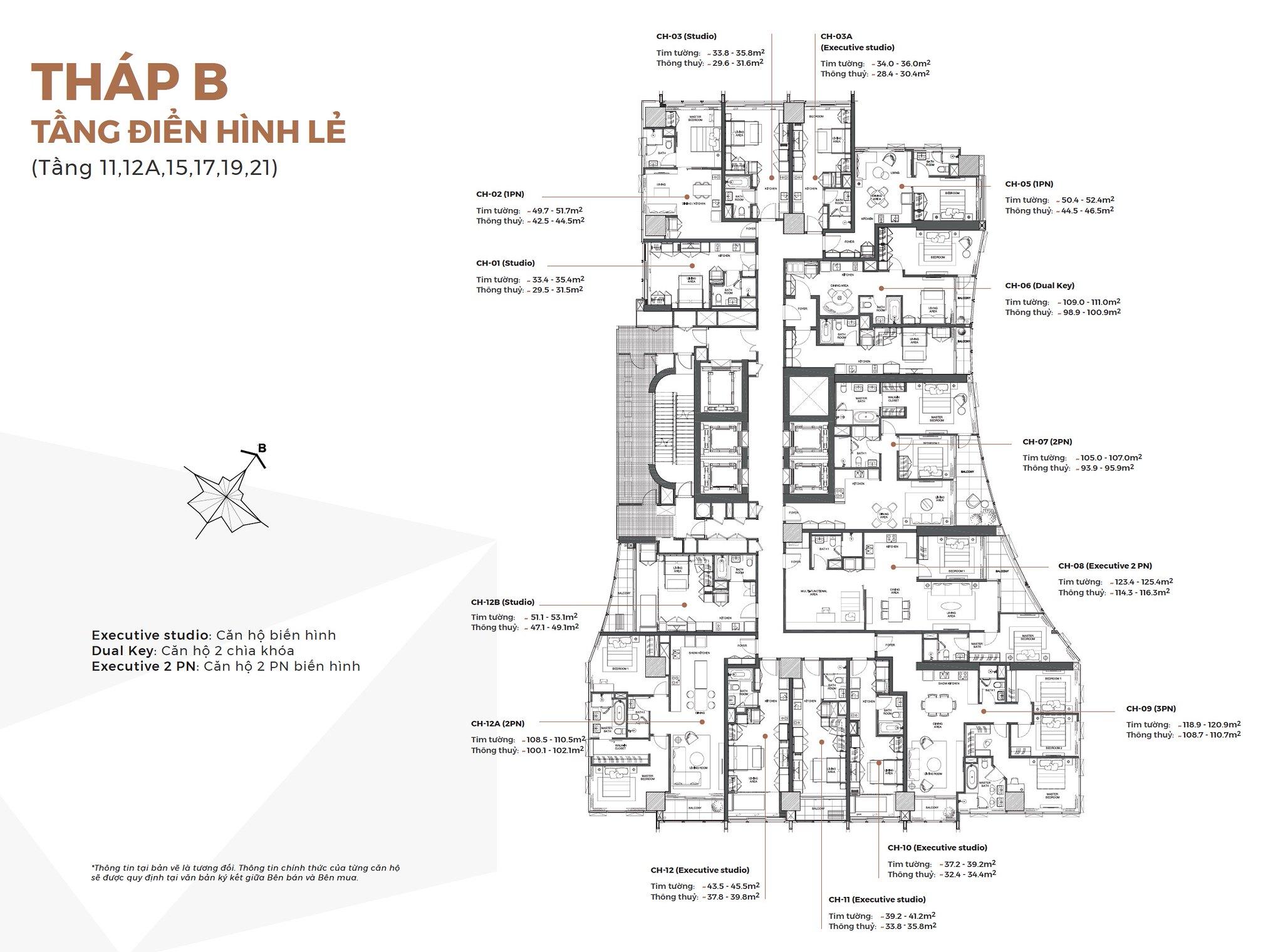 Layout Mặt Bằng Tầng Điển Hình - Tháp B - Tầng lẻ - Alpha City