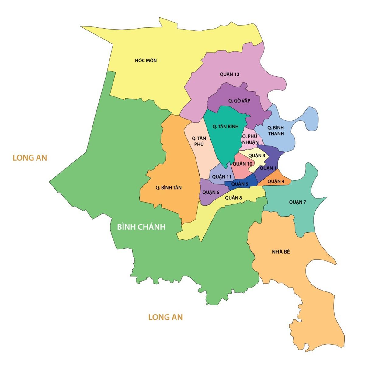Diện tích các quận TPHCM